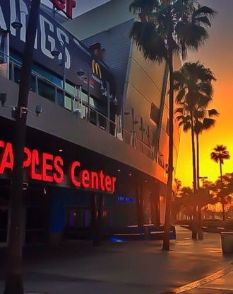 Sunset shot of Staples Center, home to the Los Angeles Lakers and Kings