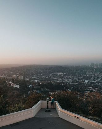 Aerial view photography of city from Griffith Observatory