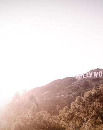 View of Hollywood Sign and hill with sunlight
