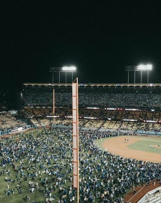 Dodger Stadium lit up during game