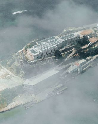 Foggy aerial view of Alcatraz Island in San Francisco