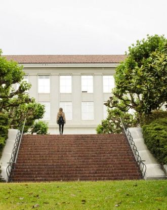 Person walking up stairs on UC Berkeley campus