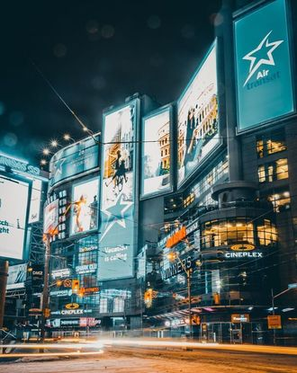 Shopping center at Yonge and Dundas Square in Toronto during nightime