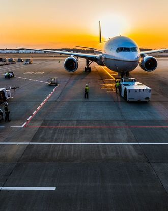 Airplanes at the airport during dawn