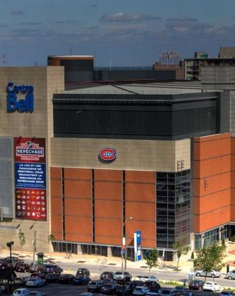 Aerial view of the front of the Bell Centre during daytime