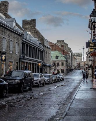 Cobblestone streets of the Old Port of Montreal during winter