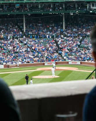 View from the stand on a baseball game at the Wrigley Field