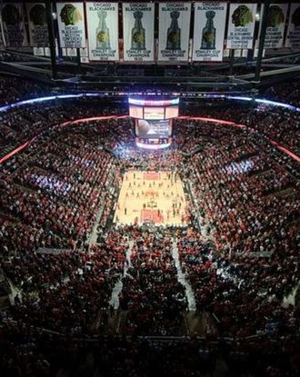 View on the crowds at a basketball game at the United Centre