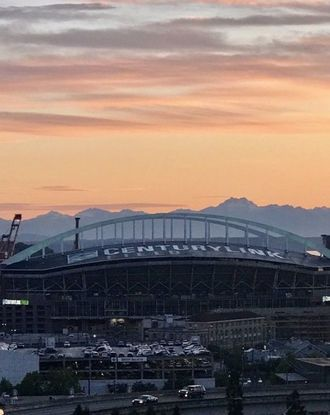 Aerial view of CenturyLink Field at dusk