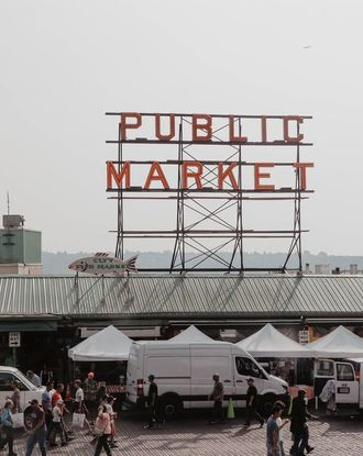 Aerial view of the Pike Place Market
