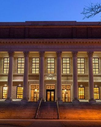 Front view of Harvard University during nightime