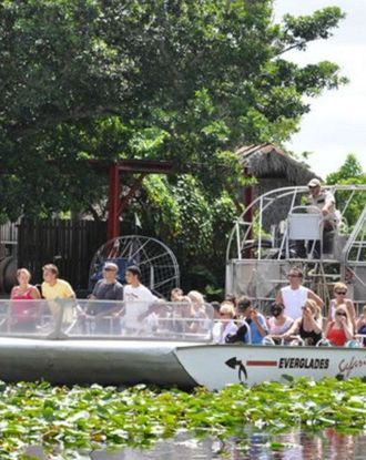 Boats ready for tour in the Everglades Safari Park