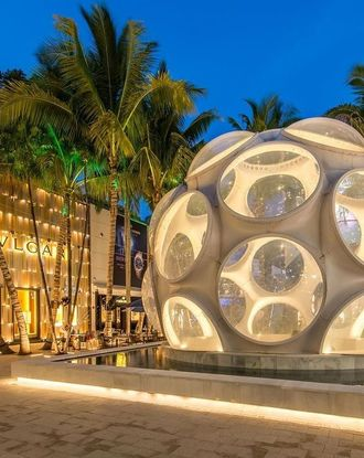 Bvlgari shop surrounded by palm trees and illuminated at night in Miami Design District