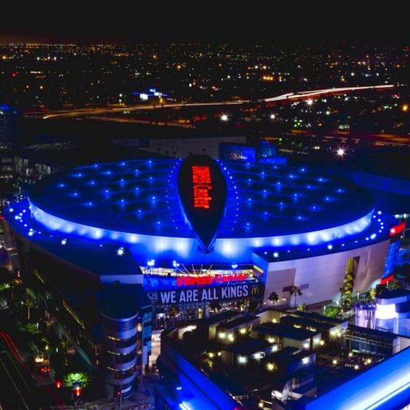 Aerial view of the Staples Center in Los Angeles