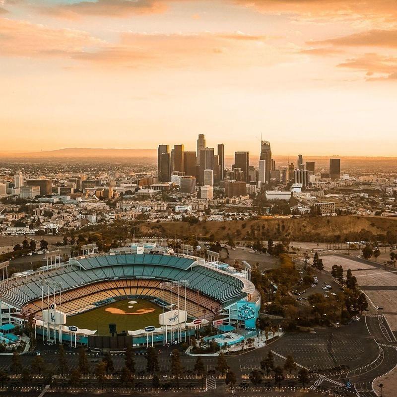 Aeriel view of Dodger Stadium in LA at sunset