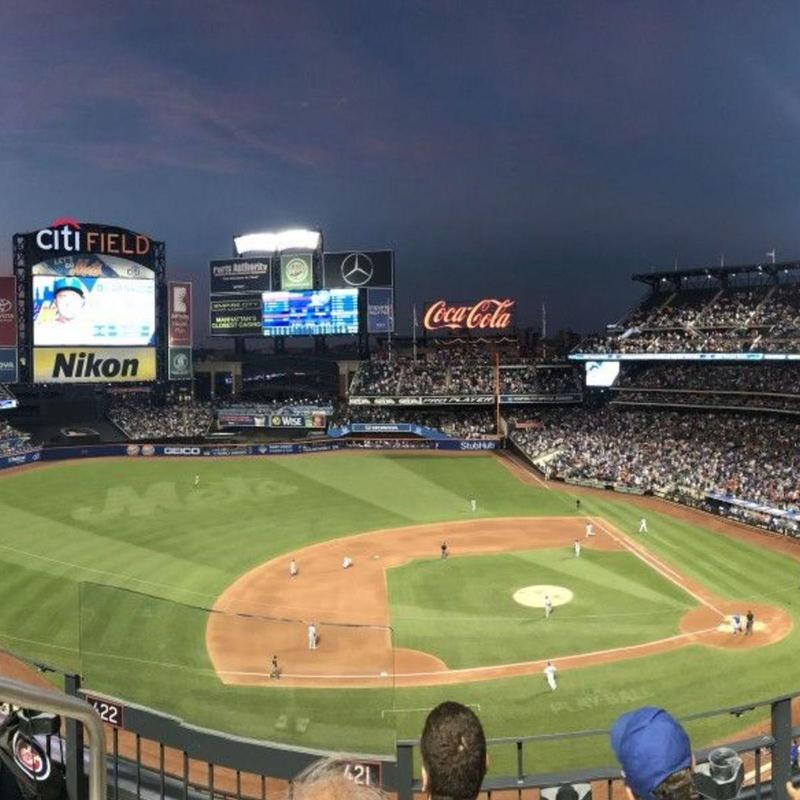 View of Citi Field during a game at night