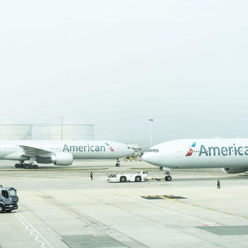Two American Airlines planes at airport