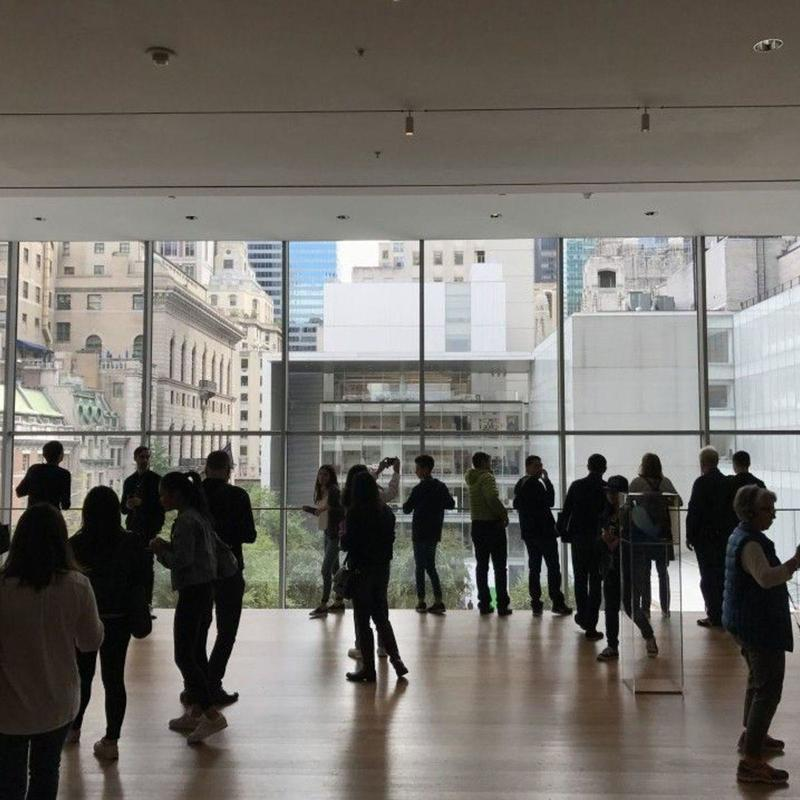 Floor to ceiling glass windows at the MoMa