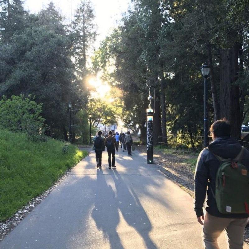 Students walking around UC Berkeley campus