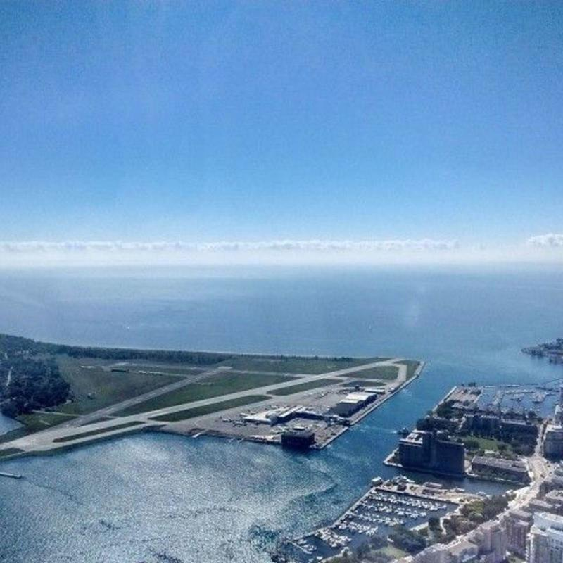 Aerial view of Billy Bishop Airport on clear sunny day