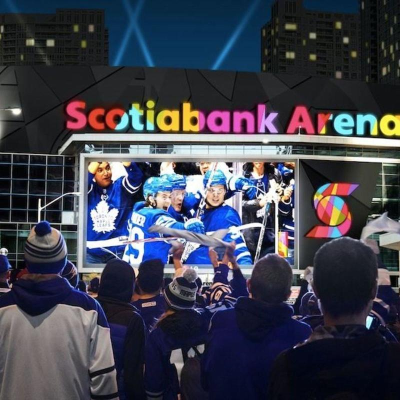 Toronto Leafs fans celebrating outside of the Scotiabank Arena