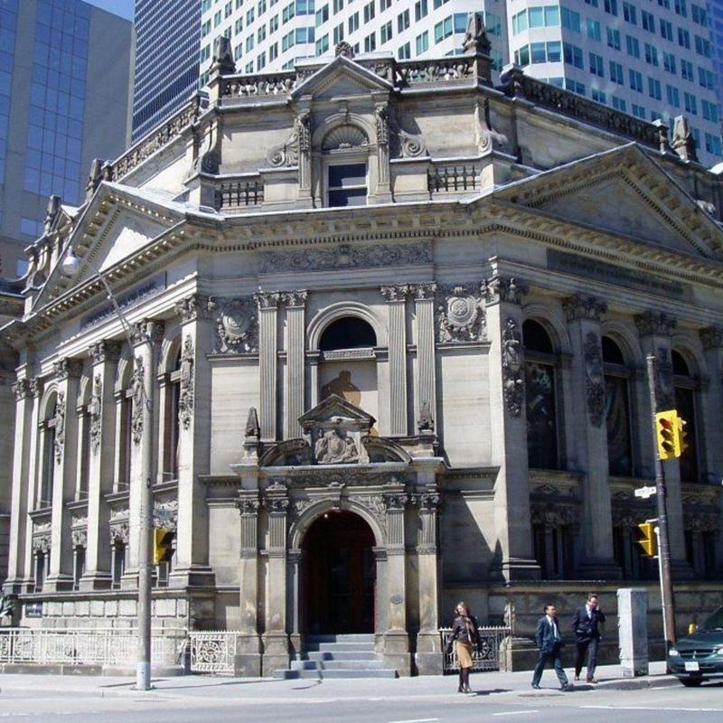 Front view of Hockey Hall of Fame in Toronto