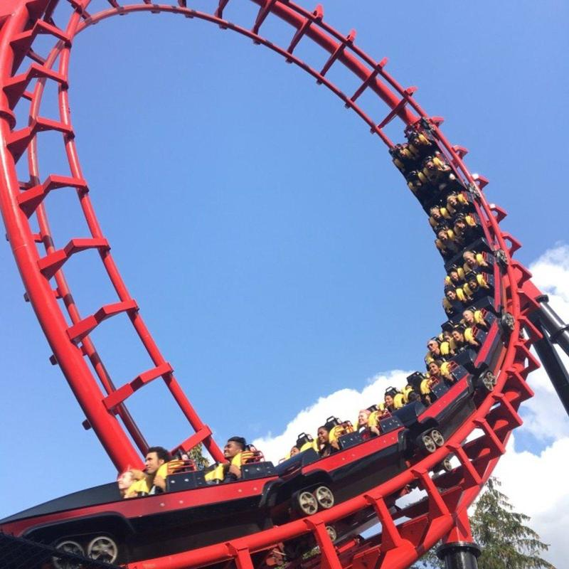 Red rollercoaster ride in Canada's Wonderland