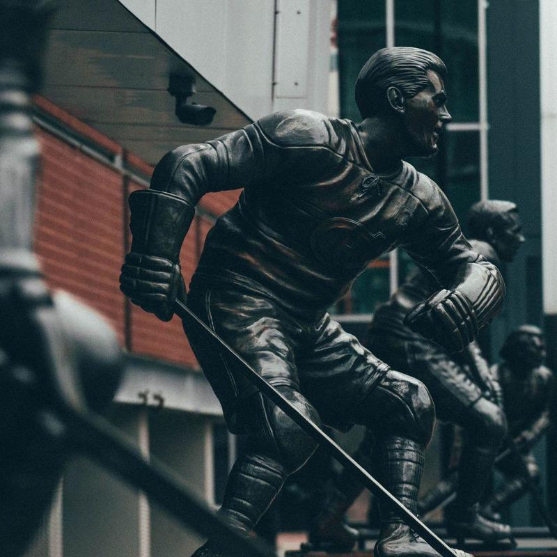 Statues of hockey players outside of Bell Centre