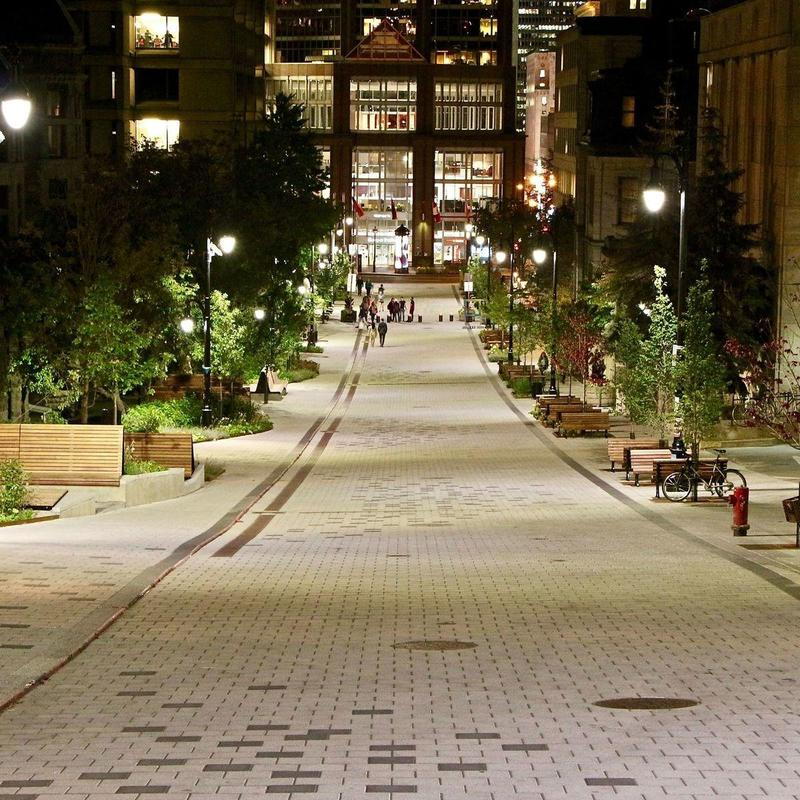 McGill University's newly renovated McTavish street lit up at night