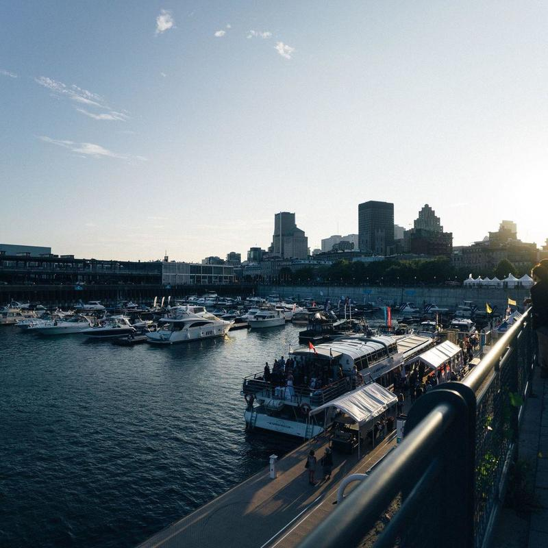 View of the ports at the Old Port of Montreal on a sunny day