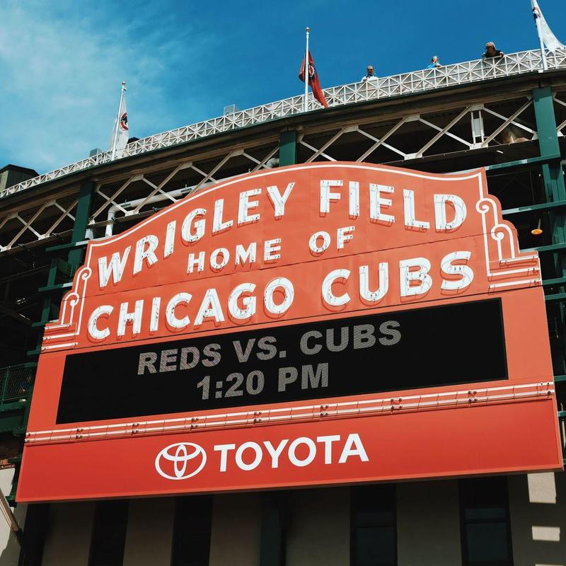Close up of red Wrigley Field sign