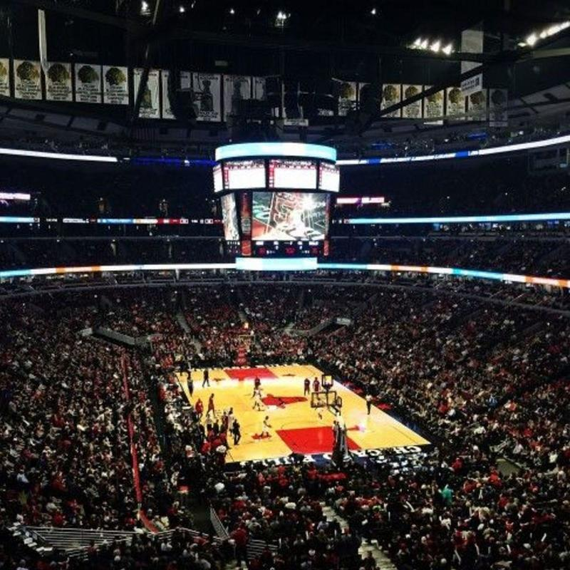 View from the stand on a basketball game at the United Centre