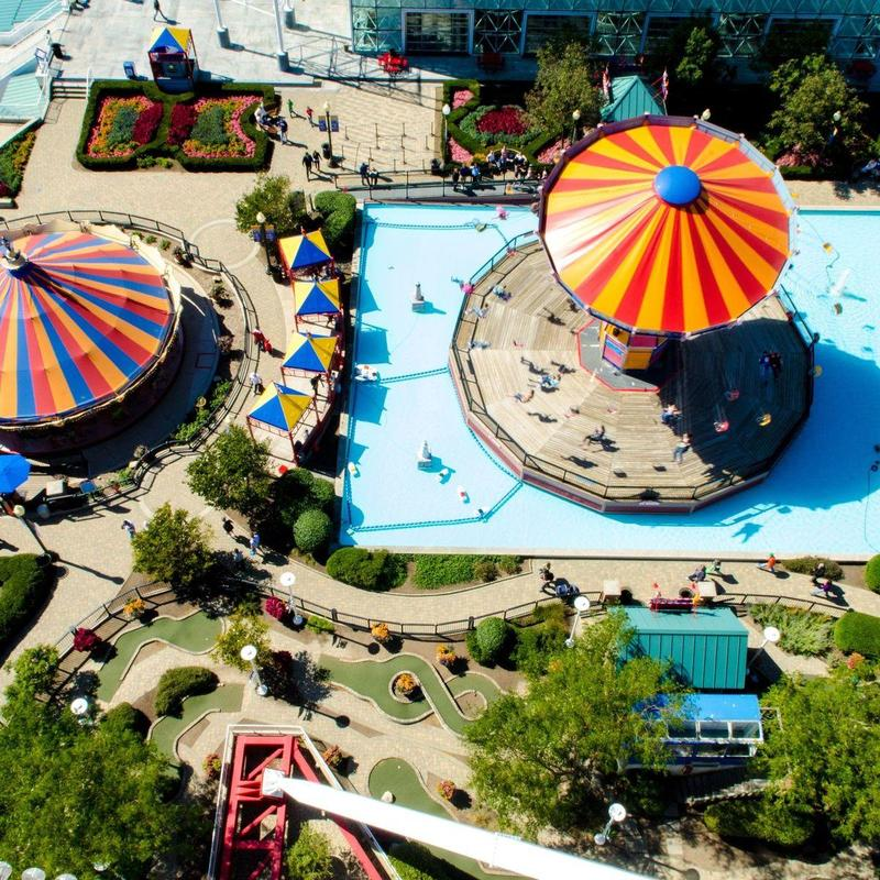 Aerial view of colourful merry-go-rounds at the Navy Pier