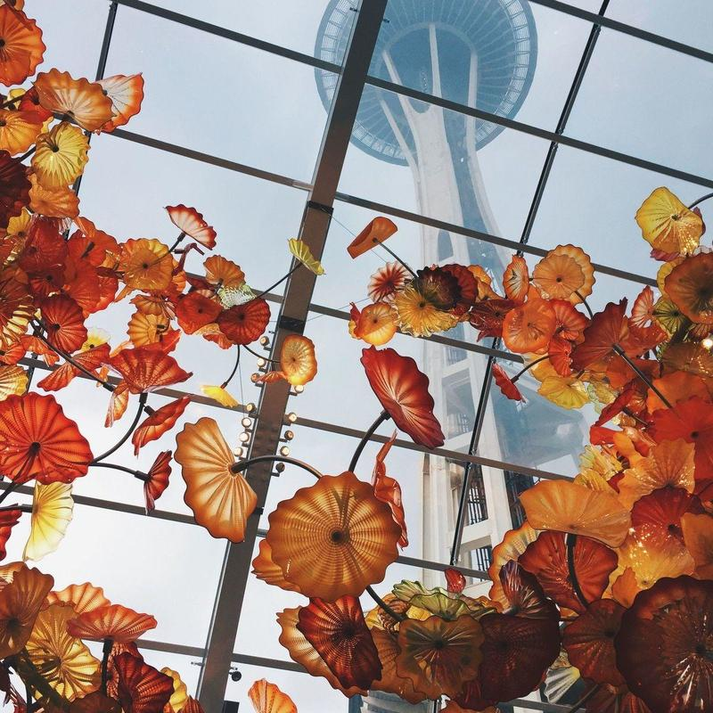 Art hanging from the roof of a solarium at the Chihuly Garden and Glass