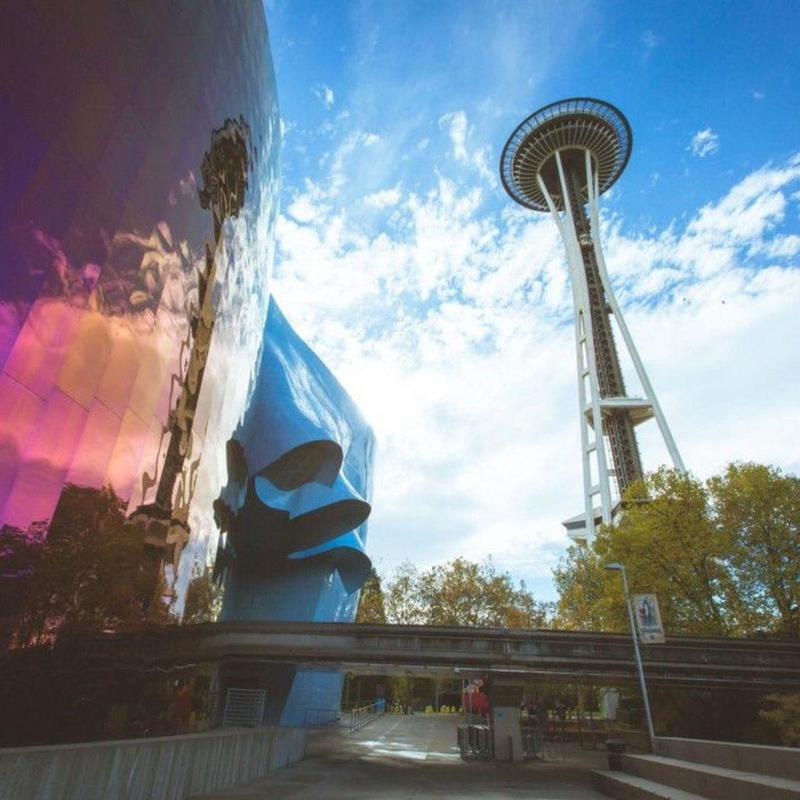 View of the Museum of Pop Culture and Space Needle in Seattle Center