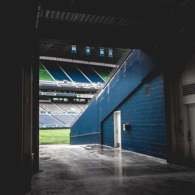 View from dark tunnel leading into the CenturyLink Field