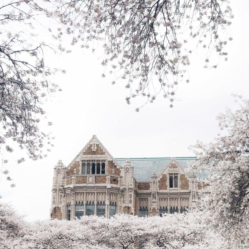 Front view of the University of Washington covered in snow in winter