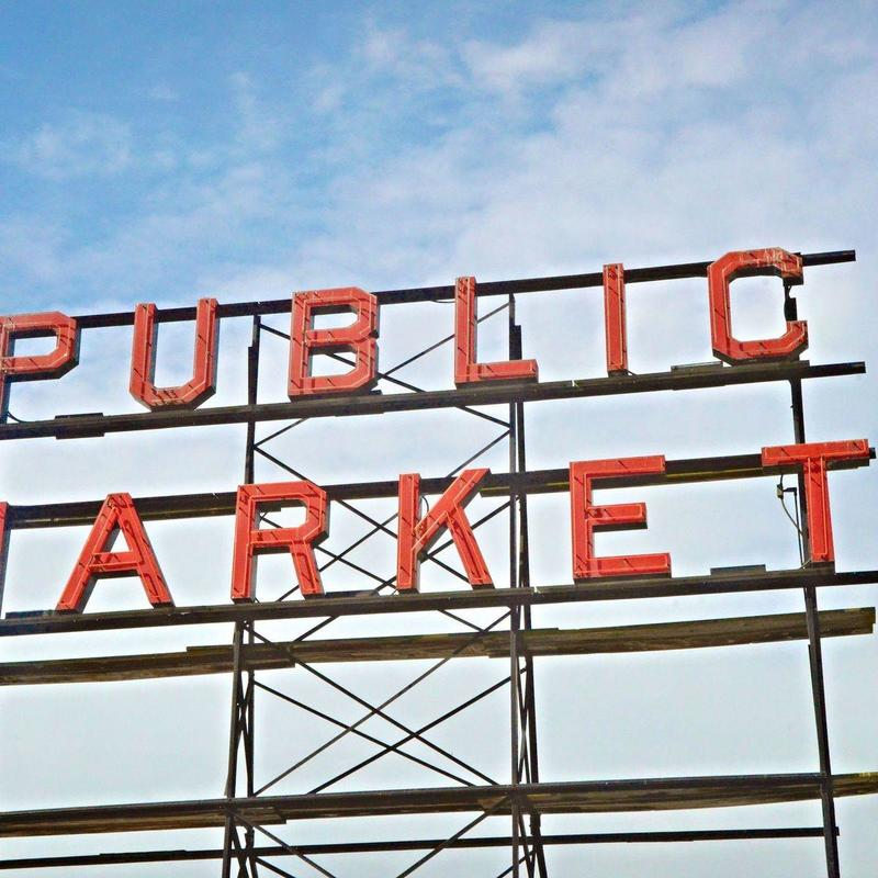 Closeup of the sign of Public Market sign at Pike Place Market