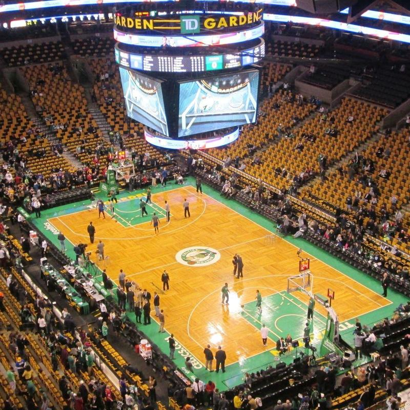 Inside view of TD Garden filling up with people