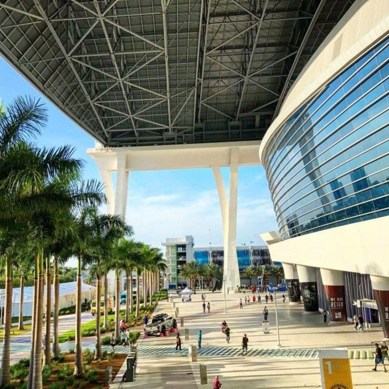 Bird's eye view of Marlins Park stadium on the outside