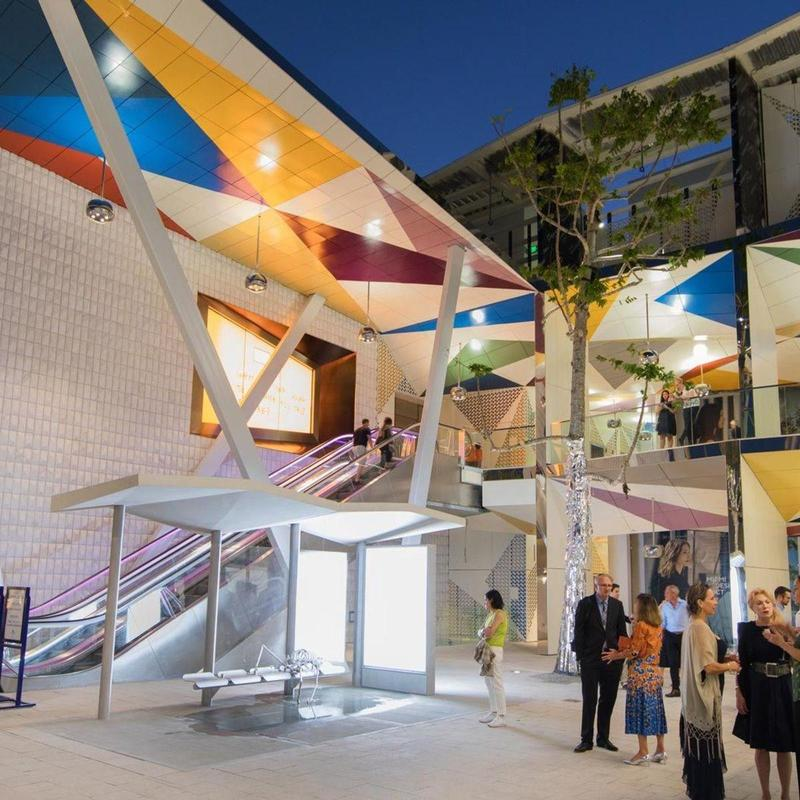 Illuminated building with colorful accents in the heart of Miami Design District